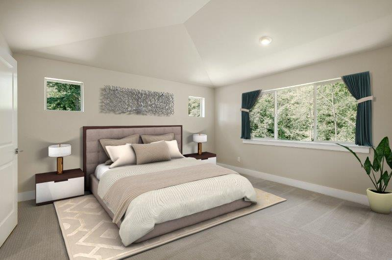 Vaulted ceilings and plenty of space in master bedroom