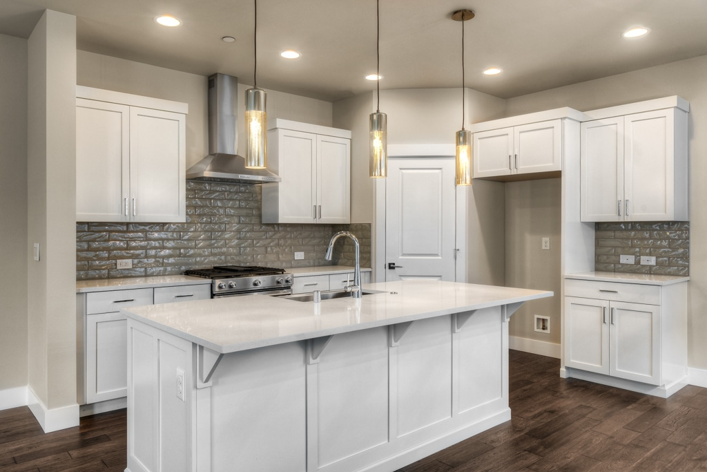 Beautiful kitchen with white painted cabinets